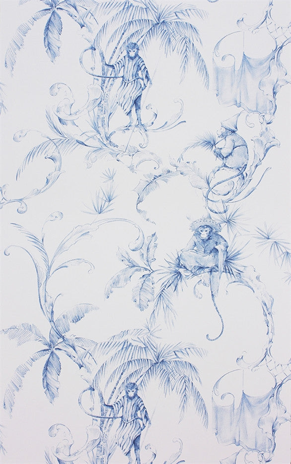 Sample Barbary Toile Wallpaper in Blue by Nina Campbell for Osborne & Little