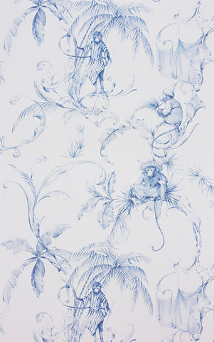 Barbary Toile Wallpaper in Blue by Nina Campbell for Osborne & Little