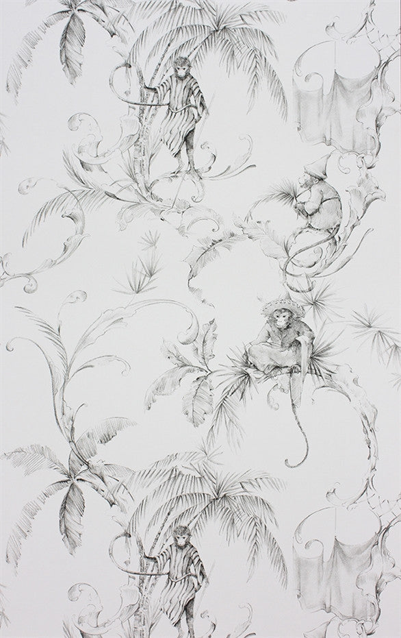 Sample Barbary Toile Wallpaper in Charcoal by Nina Campbell for Osborne & Little