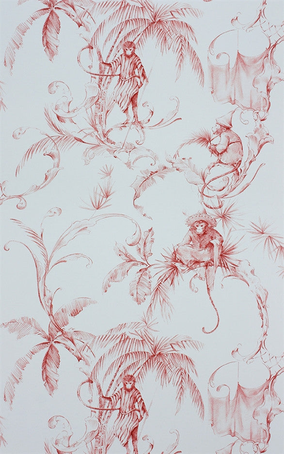 Sample Barbary Toile Wallpaper in Coral Red by Nina Campbell for Osborne & Little