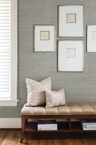 Barbora Aqua Grasscloth Wallpaper from the Jade Collection by Brewster Home Fashions