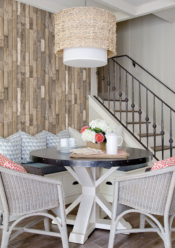 Barn Board Brown Thin Plank Wallpaper From The Essentials