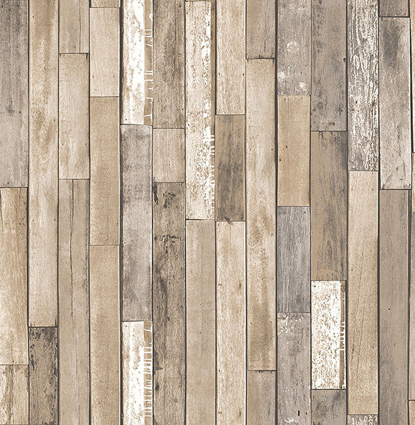 Barn Board Brown Thin Plank Wallpaper from the Essentials Collection by Brewster Home Fashions