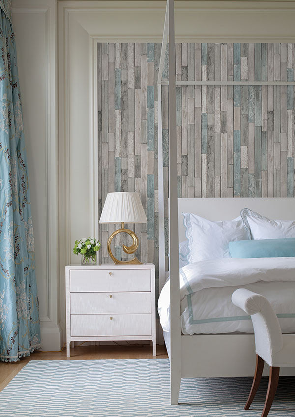 Barn Board Grey Thin Plank Wallpaper from the Essentials Collection by Brewster Home Fashions