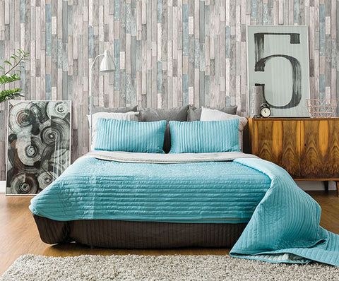 ... Barn Board Grey Thin Plank Wallpaper From The Essentials Collection By  Brewster Home Fashions