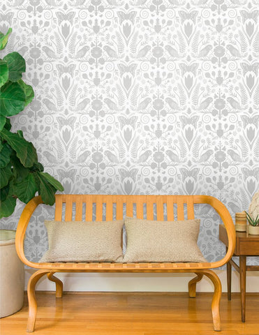 Barn Owls and Hollyhocks Wallpaper in Diamonds and Pearls on Cream by Carson Ellis for Juju
