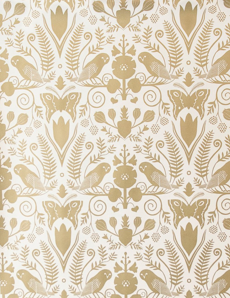 Sample Barn Owls and Hollyhocks Wallpaper in Gold on Cream by Carson Ellis for Juju