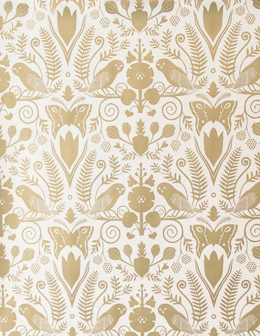 Barn Owls And Hollyhocks Wallpaper In Gold On Cream By Carson Ellis For Juju