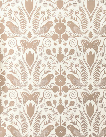 Barn Owls and Hollyhocks Wallpaper in Rose Gold on Cream by Carson Ellis for Juju
