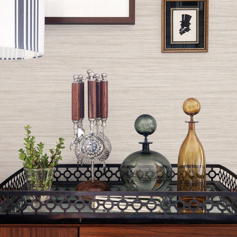 Barnaby Faux Grasscloth Wallpaper in Off-White from the Scott Living Collection by Brewster Home Fashions