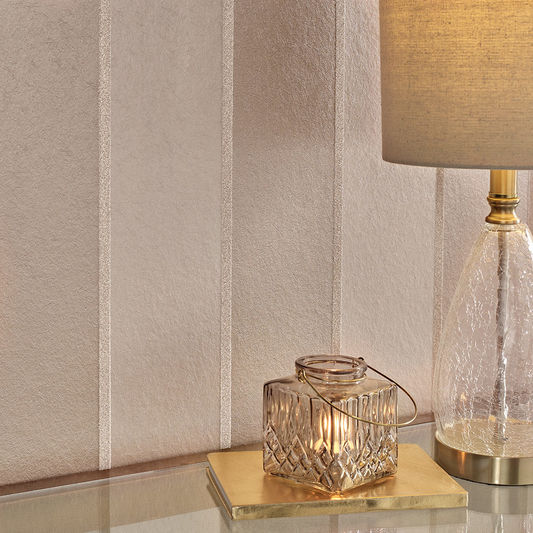 Baroque Bead Stripe Wallpaper in Champagne from the Exclusives Collection by Graham & Brown