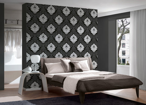 ... Baroque Floral Wallpaper In Black And White Design By BD Wall