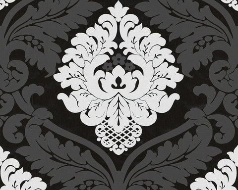 Baroque Floral Wallpaper in Black and White design by BD Wall
