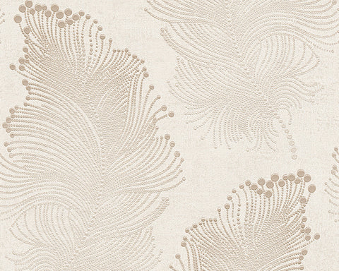 Baroque Floral Wallpaper in Cream and White design by BD Wall