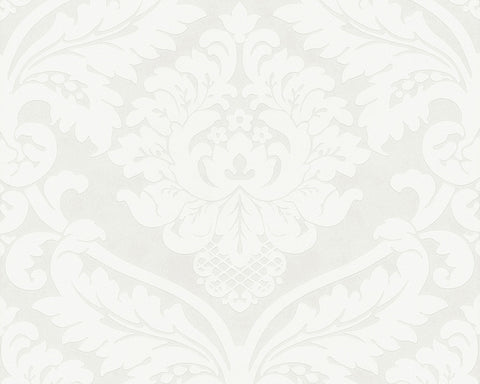 Baroque Floral Wallpaper in Ivory and Metallic design by BD Wall