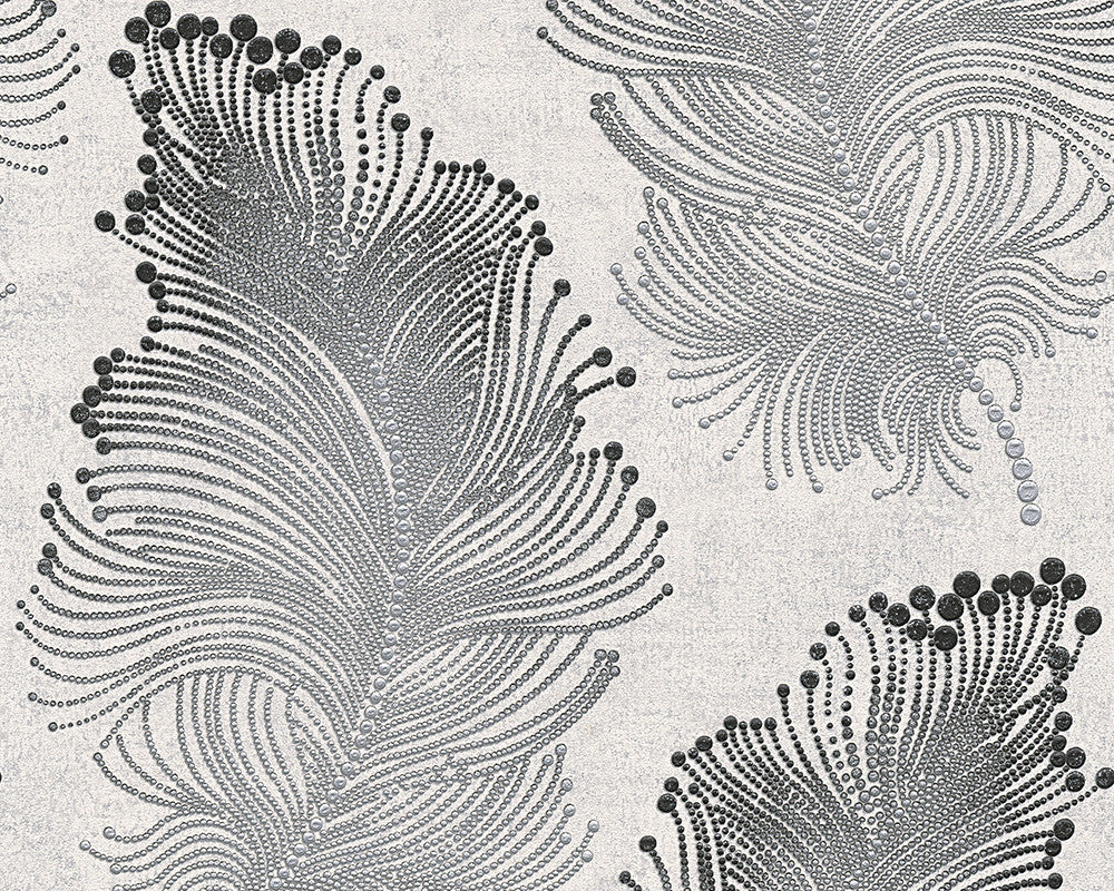 Baroque Floral Wallpaper in Metallic and Black design by BD Wall