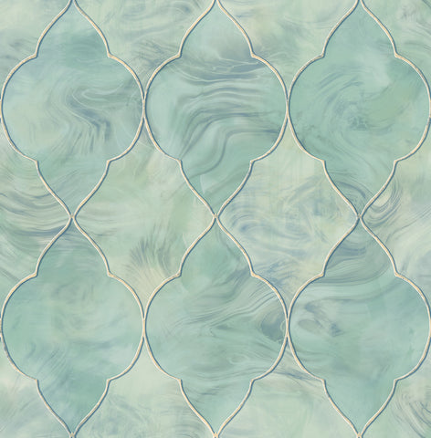 Baroque Glass Wallpaper in Blue, Gold, and Cream from the Aerial Collection by Mayflower Wallpaper