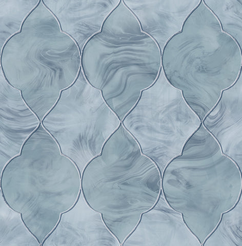 Baroque Glass Wallpaper in Blue, Silver, and Grey from the Aerial Collection by Mayflower Wallpaper
