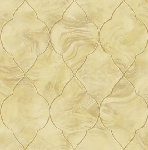 Baroque Glass Wallpaper in Gold and Cream from the Aerial Collection by Mayflower Wallpaper