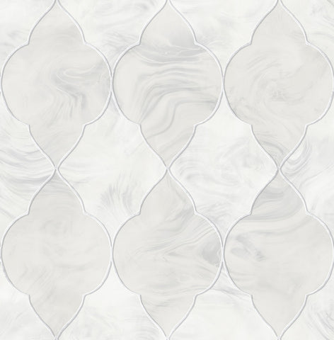 Baroque Glass Wallpaper in Silver, Grey, and Ivory from the Aerial Collection by Mayflower Wallpaper