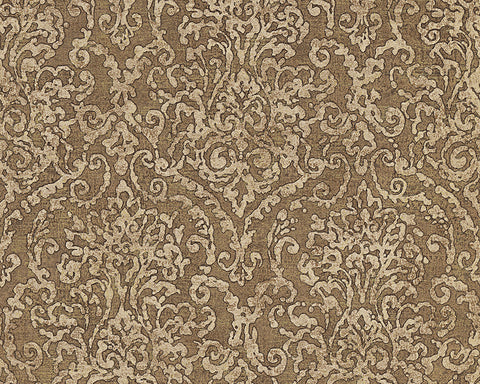 Baroque Scroll Wallpaper in Beige and Brown design by BD Wall
