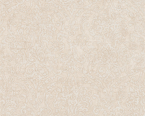 Baroque Scroll Wallpaper in Beige and Cream design by BD Wall