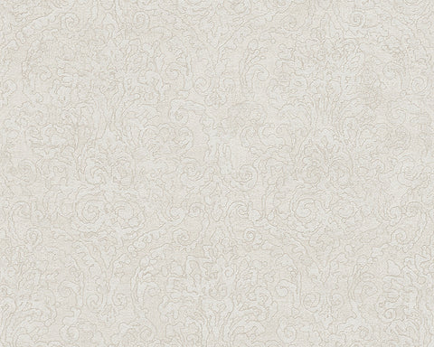 Baroque Scroll Wallpaper in Grey and Cream design by BD Wall