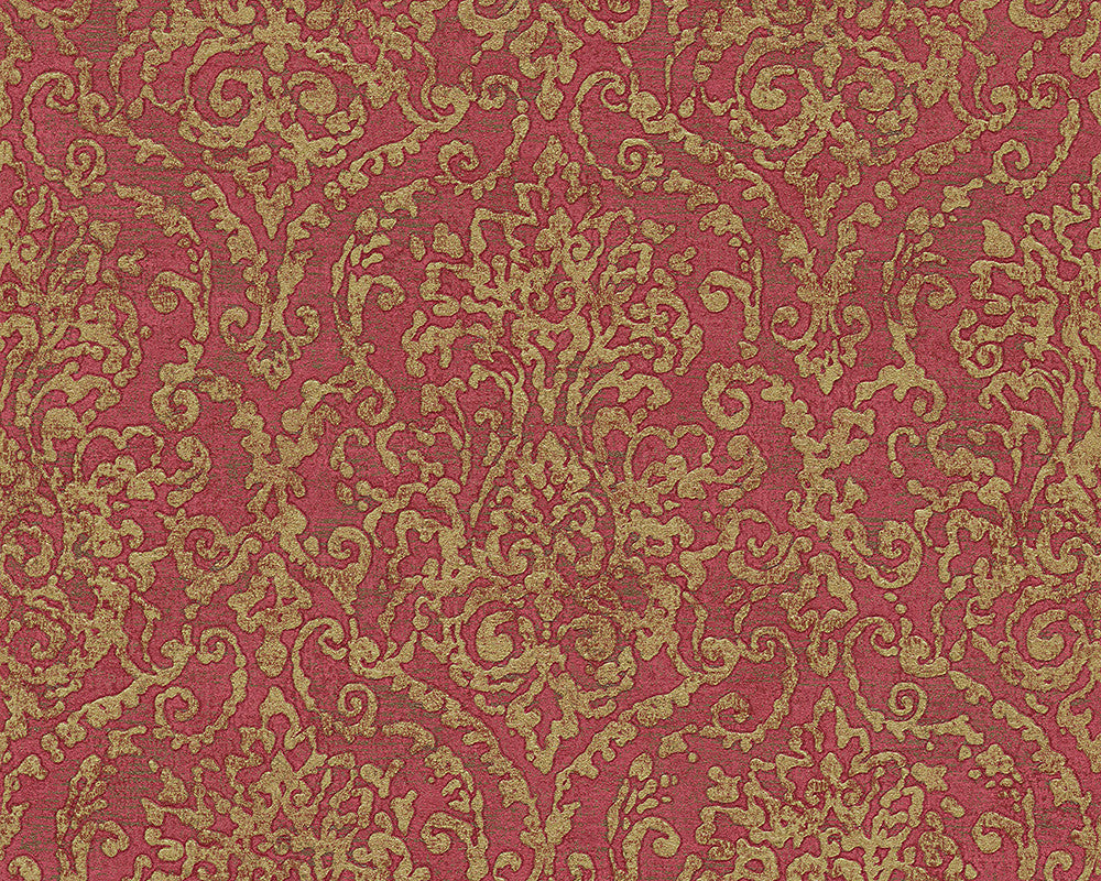 Sample Baroque Scroll Wallpaper in Red and Metallic design by BD Wall