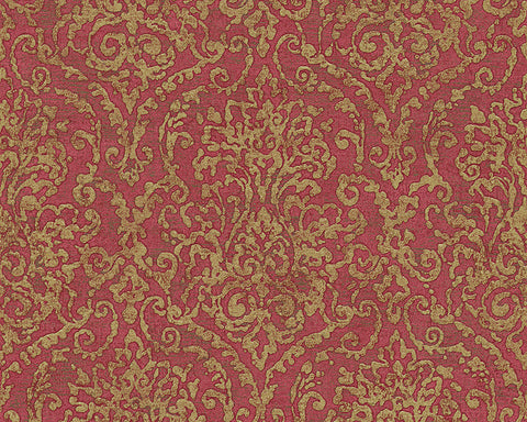 Baroque Scroll Wallpaper in Red and Metallic design by BD Wall