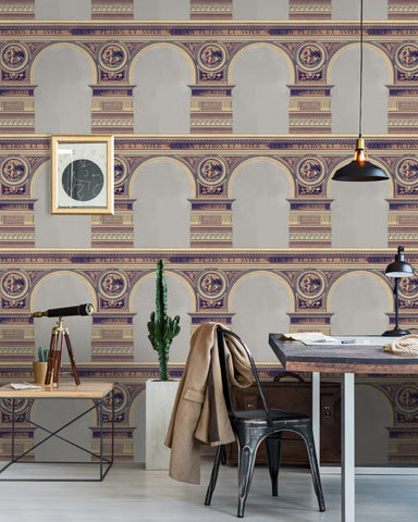 Basilique Wallpaper in Brass from the Histoire de L'Architecture Collection by Mind the Gap