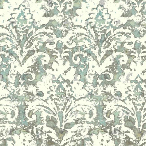 Sample Batik Damask Wallpaper in Blue-Grey from the Impressionist Collection by York Wallcoverings