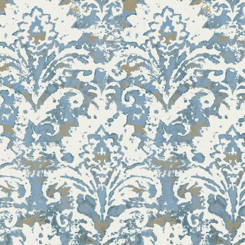 Sample Batik Damask Wallpaper in Blue from the Impressionist Collection by York Wallcoverings