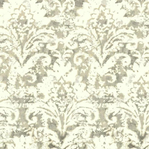 Sample Batik Damask Wallpaper in Tan from the Impressionist Collection by York Wallcoverings