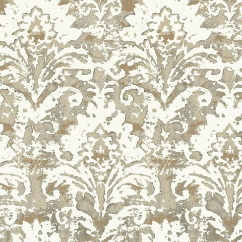 Sample Batik Damask Wallpaper in Taupe from the Impressionist Collection by York Wallcoverings