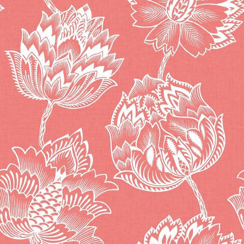 Sample Batik Jacobean Peel & Stick Wallpaper in Coral by RoomMates for York Wallcoverings