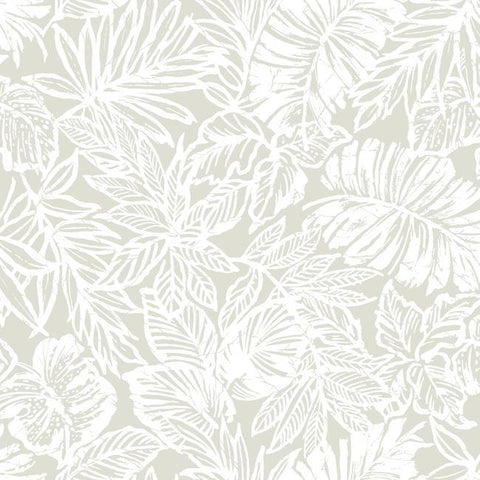 Sample Batik Tropical Leaf Peel & Stick Wallpaper in Beige and Off-White by RoomMates for York Wallcoverings