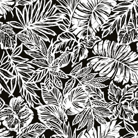 Batik Tropical Leaf Peel & Stick Wallpaper in Black by RoomMates for York Wallcoverings