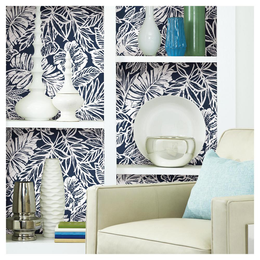 Batik Tropical Leaf Peel Stick Wallpaper In Blue By Roommates For Yo Burke Decor