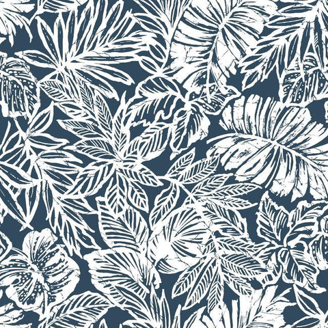 Batik Tropical Leaf Peel & Stick Wallpaper in Blue by RoomMates for York Wallcoverings