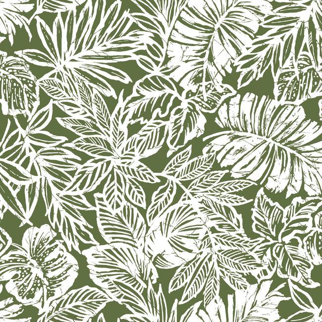 Batik Tropical Leaf Peel & Stick Wallpaper in Green by RoomMates for York Wallcoverings