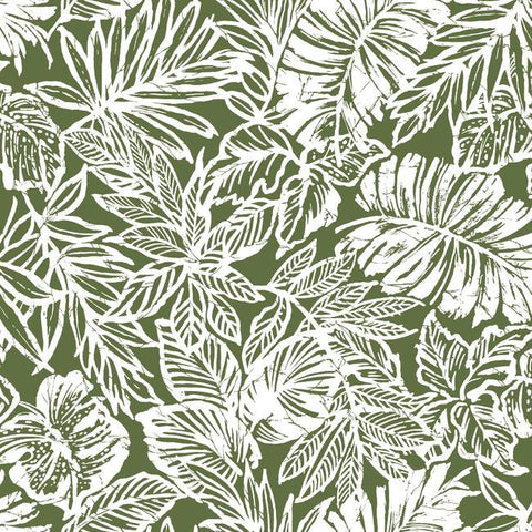Sample Batik Tropical Leaf Peel & Stick Wallpaper in Green by RoomMates for York Wallcoverings