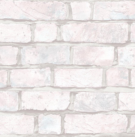 Battersea Brick Wallpaper in Grey and Pink from the Transition Collection by Mayflower
