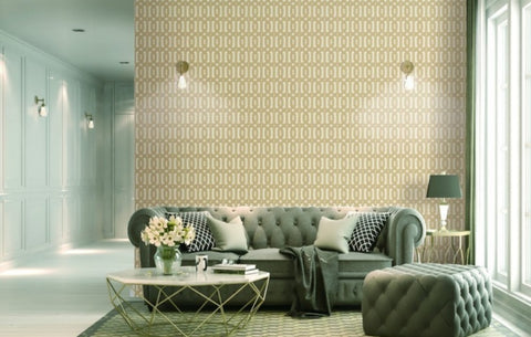 Bea Textured Geometric Wallpaper in Beige and Gold by BD Wall