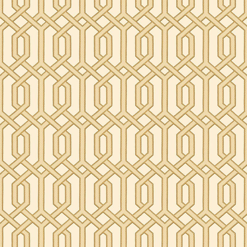 Sample Bea Textured Geometric Wallpaper in Beige and Gold by BD Wall