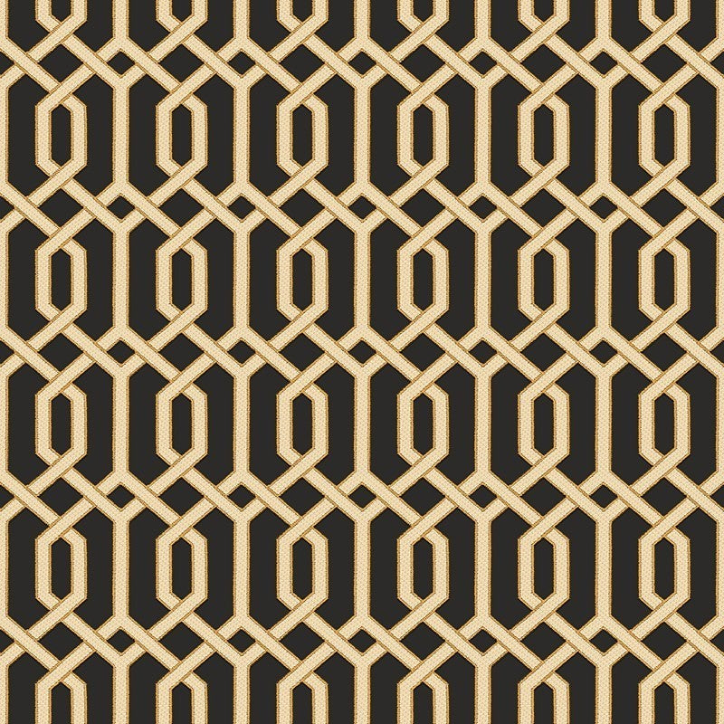 Sample Bea Textured Geometric Wallpaper in Black and Gold by BD Wall