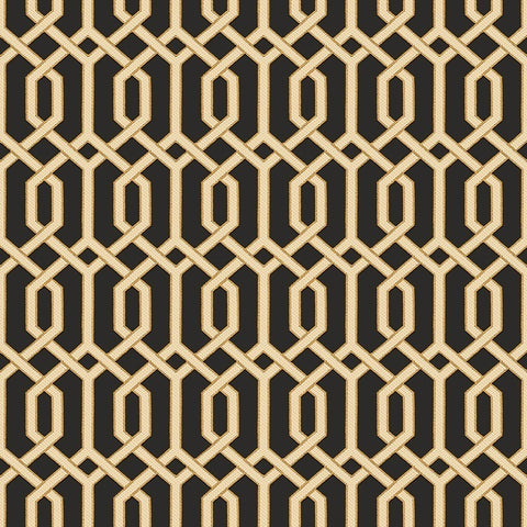 Bea Textured Geometric Wallpaper in Black and Gold by BD Wall