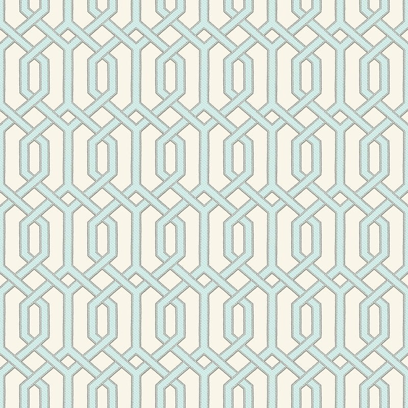 Sample Bea Textured Geometric Wallpaper in Blue Pearl and Cream by BD Wall