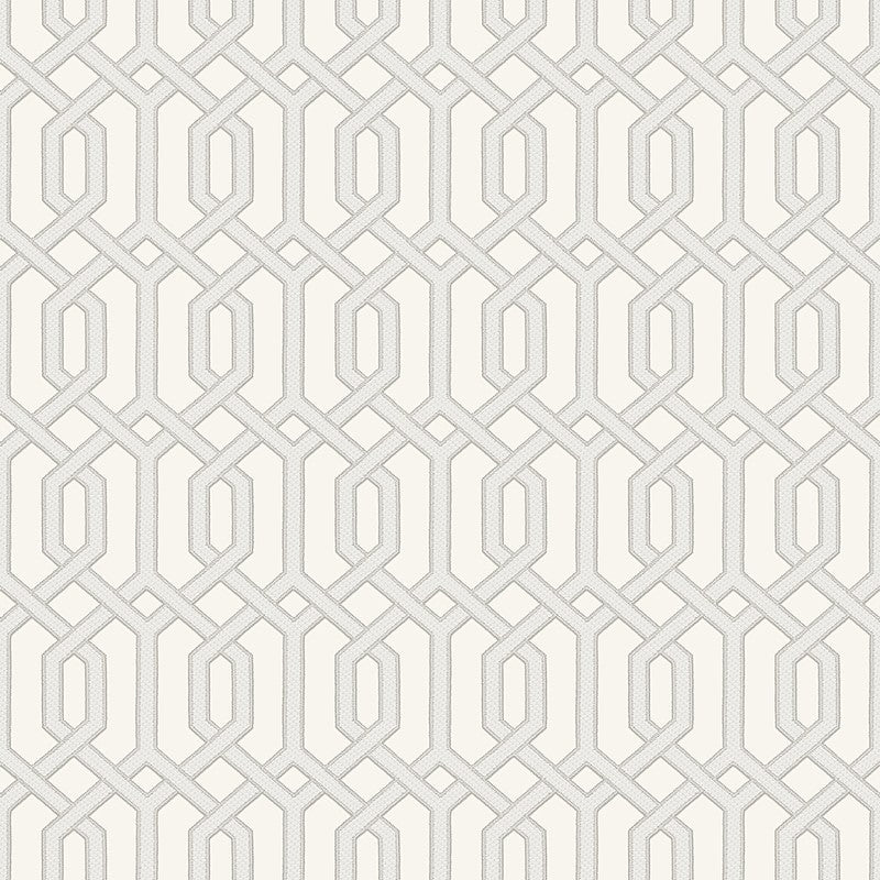 Sample Bea Textured Geometric Wallpaper in Champagne and Off-White by BD Wall