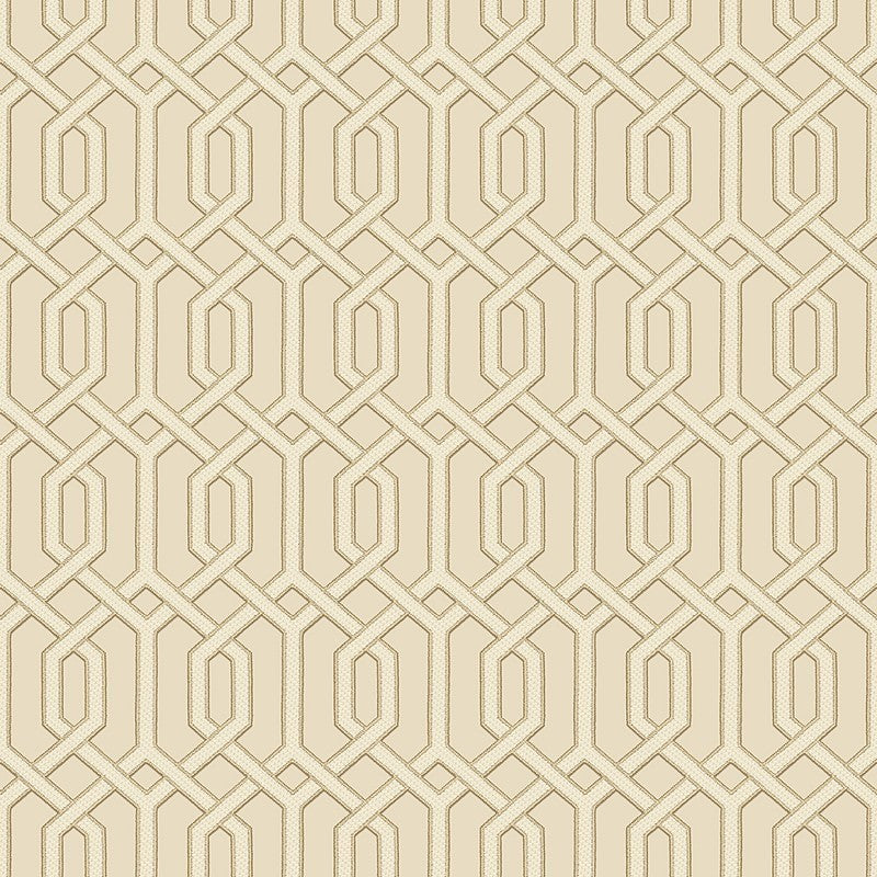 Sample Bea Textured Geometric Wallpaper in Cream and Gold by BD Wall