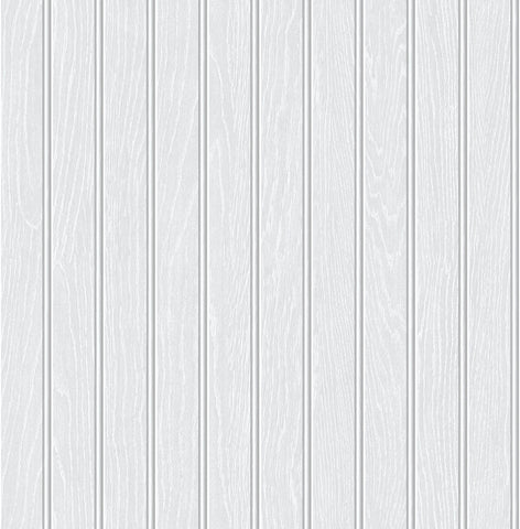 Beadboard Peel-and-Stick Wallpaper in Off-White by NextWall